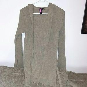 Open hooded cardigan